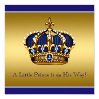 Blue and Gold Crown Little Prince Baby Shower Invite