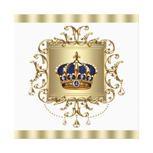 Prince Crown Wall Decoration : Blue and gold crown prince canvas wall art print