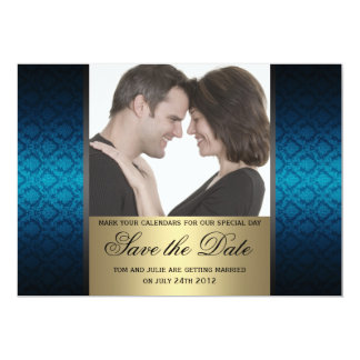 Blue and Gold Damaks Save the Date Photo Card