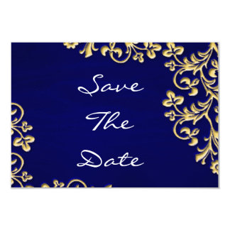 Blue and gold damask brocade save the date personalised invitations