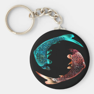 Blue and Gold Fish Key Ring