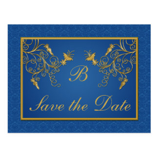 Blue and Gold Floral Damask Save the Date Card Postcard