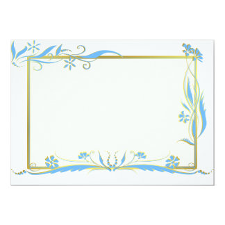 Blue and gold floral ornament 13 cm x 18 cm invitation card
