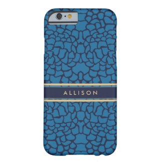 Blue and Gold Floral Personalized Phone Barely There iPhone 6 Case