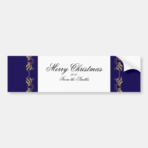 Blue and Gold Floral Scroll Bumper Sticker