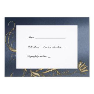 Blue and Gold Floral Vintage rsvps with envelopes Card