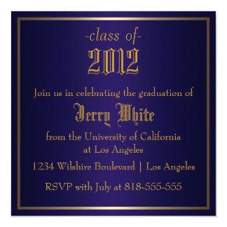 Blue and Gold Graduation 13 Cm X 13 Cm Square Invitation Card