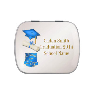 Blue and Gold Graduation Rectangle Candy Tin