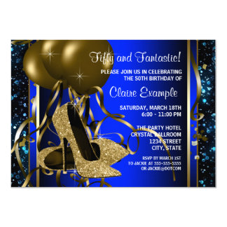 Blue and Gold High Heels Womans Birthday Party Announcements
