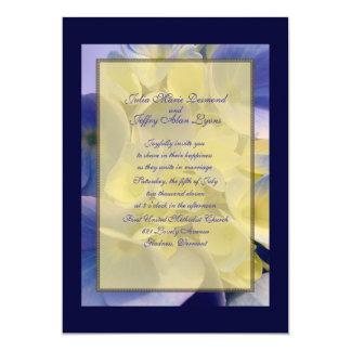 Blue and Gold Hydrangea Wedding Card
