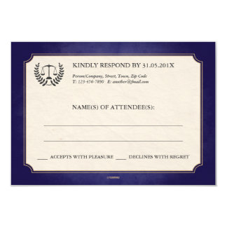 Blue and Gold Law Firm/Law School Graduation RSVP 9 Cm X 13 Cm Invitation Card