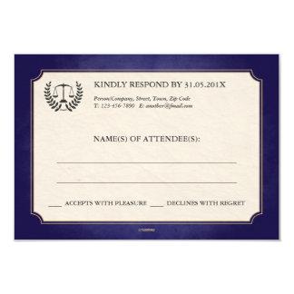 Blue and Gold Law Firm/Law School Graduation RSVP 9 Cm X 13 Cm Invitation Card