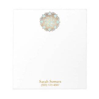 Blue and Gold Lotus Personalized Notepad