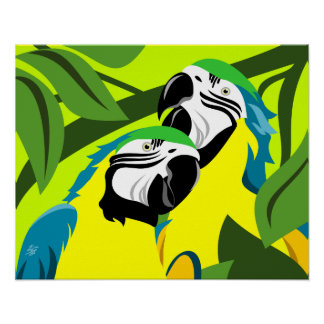 Blue and Gold Macaw Art Poster