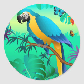blue and gold macaw in the Amazon Round Sticker
