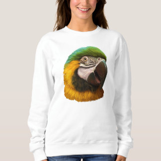 Blue and gold macaw realistic painting sweatshirt