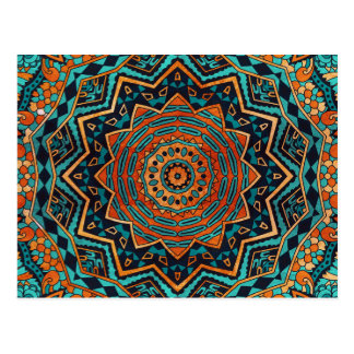 Blue and gold mandala postcard