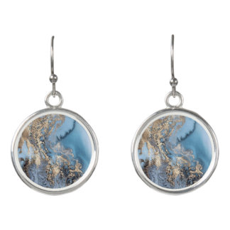 blue and gold marble drop earrings