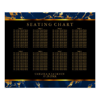 Blue and Gold Marble - Seating Chart Poster