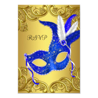 Blue and Gold Masquerade Party RSVP Card