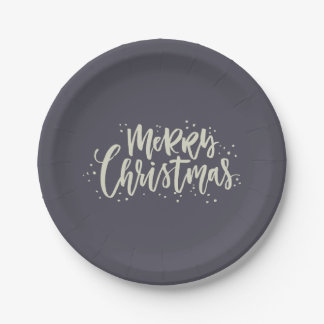 Blue and Gold Merry Christmas Paper Plates