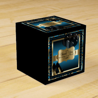 Blue and Gold Metallic - 50th Birthday  | DIY Text Party Favour Boxes