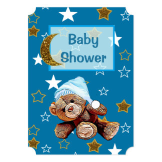 Blue and Gold Moon and Stars Baby Shower Invites