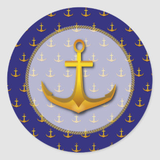 Blue and Gold Nautical Anchors Stickers