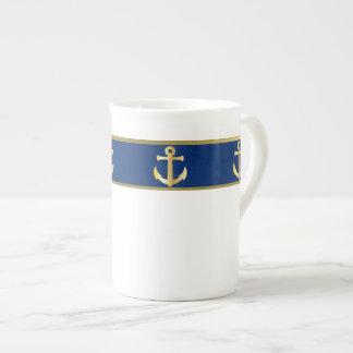 Blue and Gold Nautical Bone China Mug