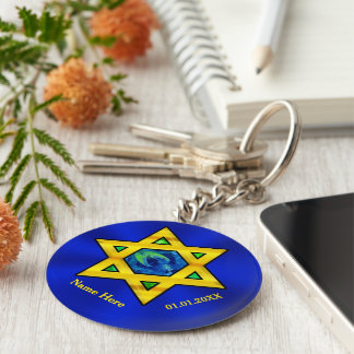 Blue and Gold Personalized Bar Mitzvah Favors Basic Round Button Key Ring