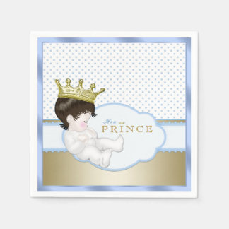 Blue and Gold Prince Baby Shower Disposable Serviettes