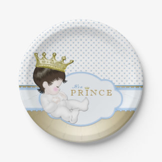 Blue and Gold Prince Baby Shower Paper Plate