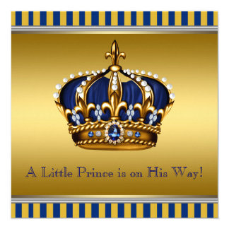 Blue and Gold Royal Baby Shower 13 Cm X 13 Cm Square Invitation Card