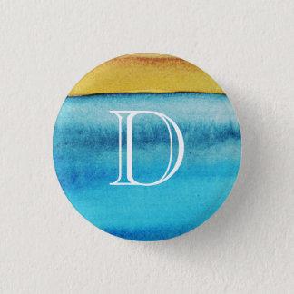 Blue and Gold Rustic Monogram 3 Cm Round Badge