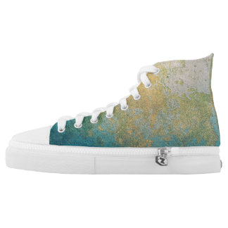 Blue and Gold Spatter Design High Tops