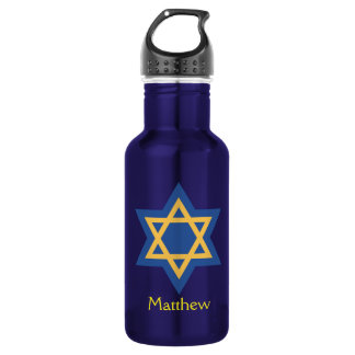 Blue and Gold Star of David 532 Ml Water Bottle