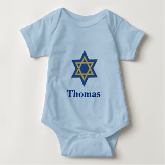 Blue and Gold Star of David Baby Bodysuit