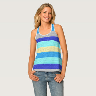 Blue and Gold Stripes Racer-back Tank Tank Top