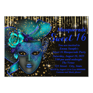 Blue and Gold Sweet Sixteen Masquerade Party 11 Cm X 16 Cm Invitation Card