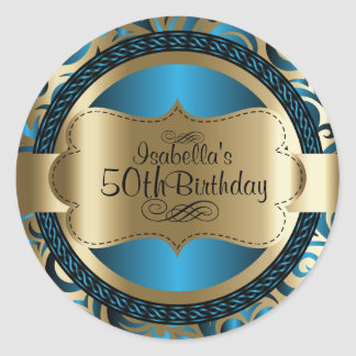 Blue and Gold Swirl Abstract Birthday Classic Round Sticker