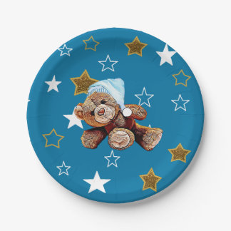 Blue and Gold Teddy Bear and Stars Paper Plates