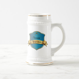 Blue and Gold Tone Plaque Best Man Wedding Stein