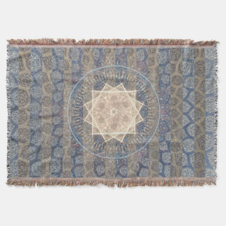 Blue and Gold Tribal Sun Leaf Pattern Striped