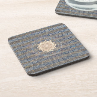 Blue and Gold Tribal Sun Leaf Pattern Striped Coasters