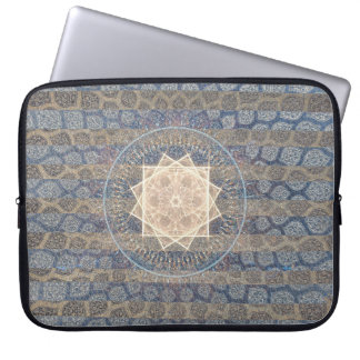 Blue and Gold Tribal Sun Leaf Pattern Striped Computer Sleeves