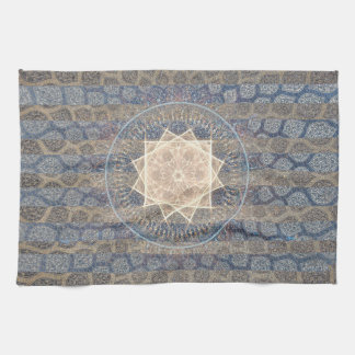 Blue and Gold Tribal Sun Leaf Pattern Striped Kitchen Towel