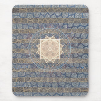 Blue and Gold Tribal Sun Leaf Pattern Striped Mouse Pad