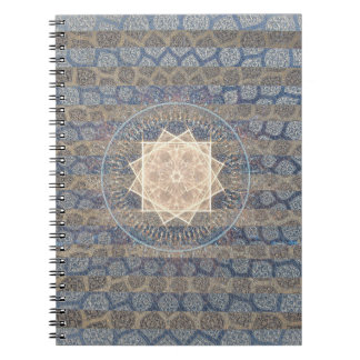 Blue and Gold Tribal Sun Leaf Pattern Striped Note Book