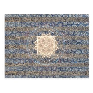 Blue and Gold Tribal Sun Leaf Pattern Striped Postcard