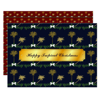 Blue and Gold Tropical Christmas with Palm Trees Card